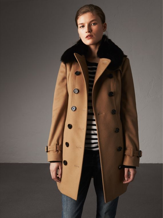 Wool Cashmere Trench Coat with Fur Collar in Camel