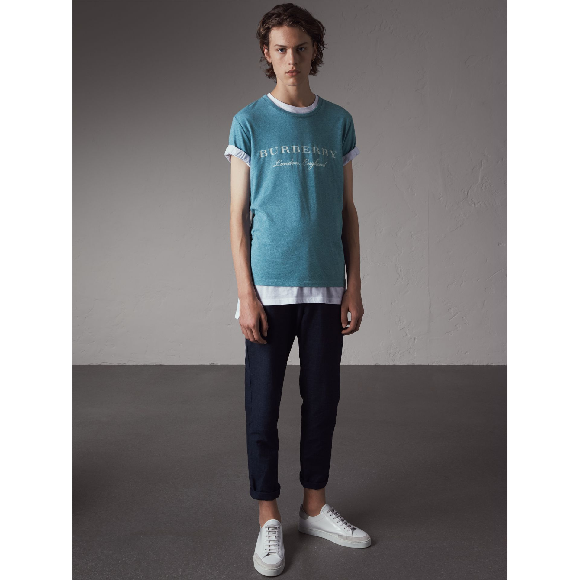 Devoré Cotton Jersey T-shirt in Cyan Blue - Men | Burberry - gallery image 5