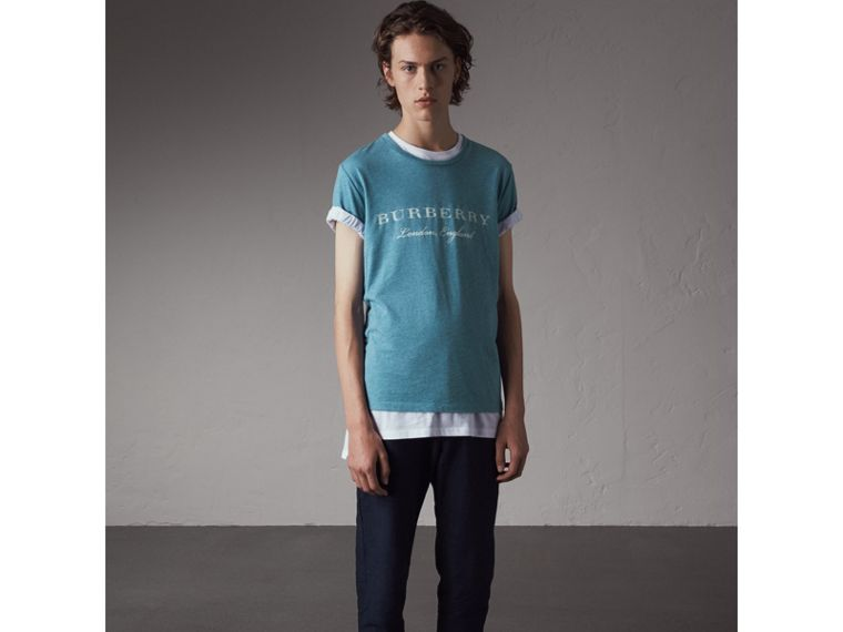 Devoré Cotton Jersey T-shirt in Cyan Blue - Men | Burberry - cell image 4