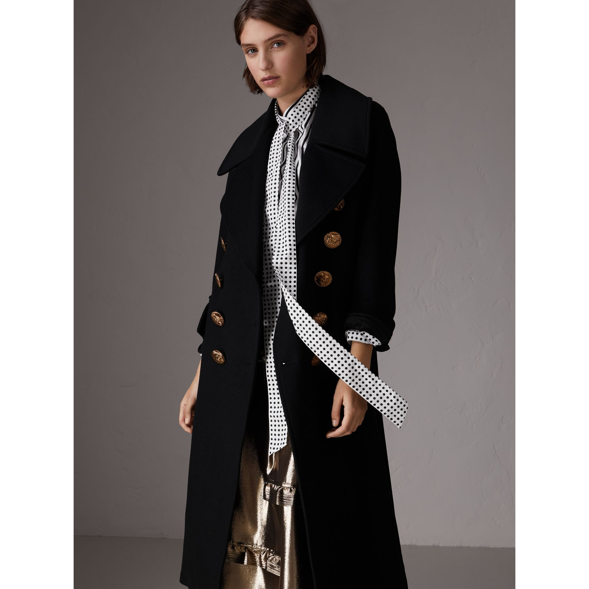 Bird Button Wool Blend Military Coat in Black - Women | Burberry United States - gallery image 0