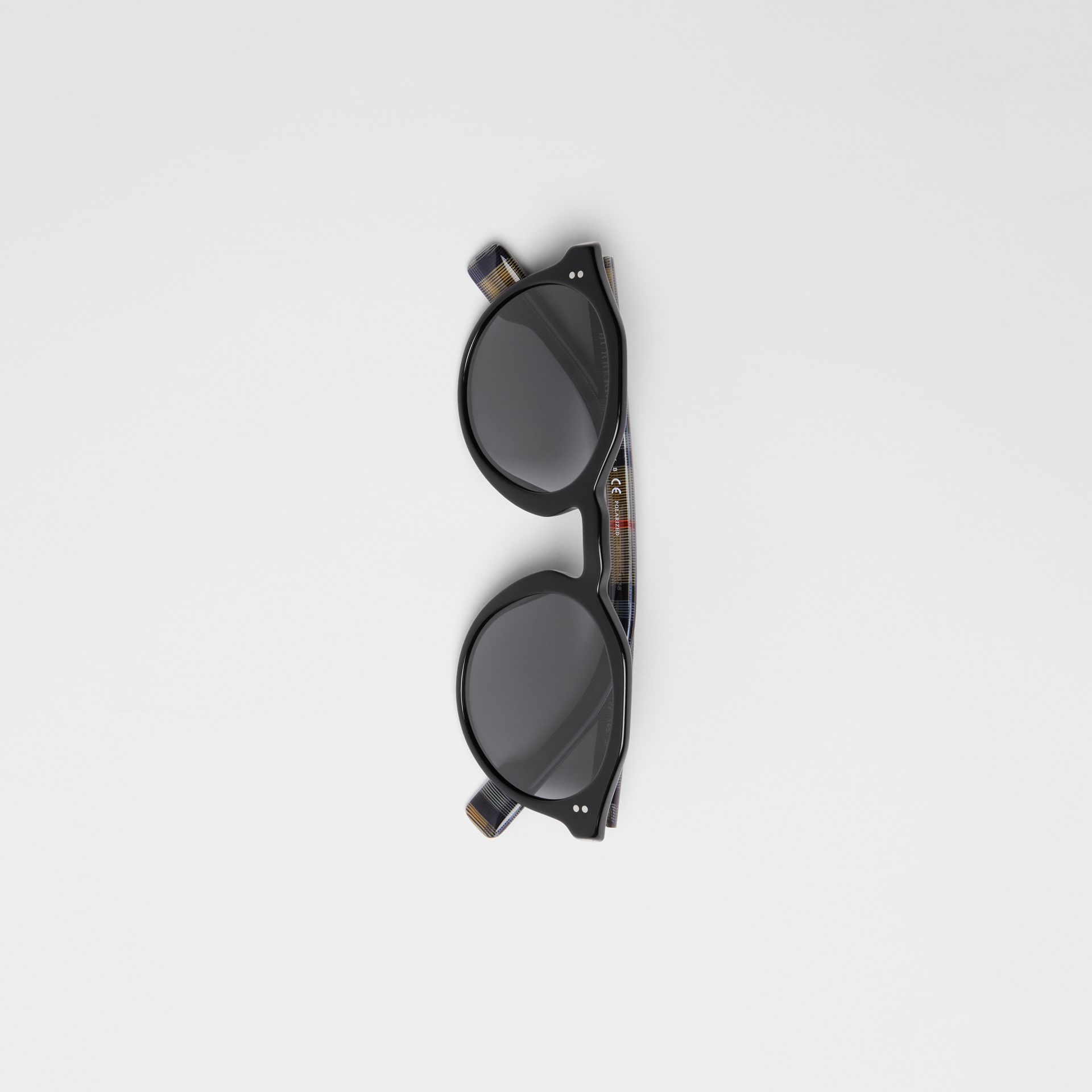 Vintage Check Detail Round Frame Sunglasses in Black - Men | Burberry - gallery image 3
