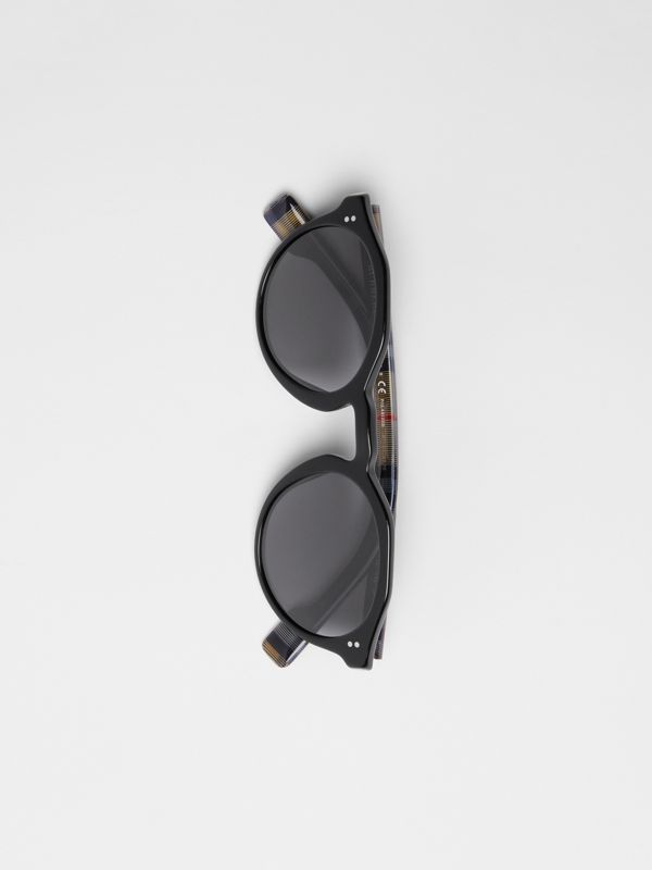 Vintage Check Detail Round Frame Sunglasses in Black - Men | Burberry - cell image 3