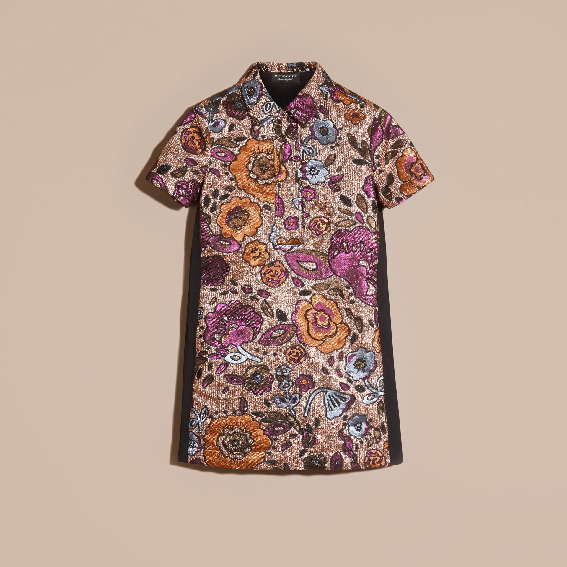 Copper rose Lamé and Floral Jacquard Shirt Dress - gallery image 4