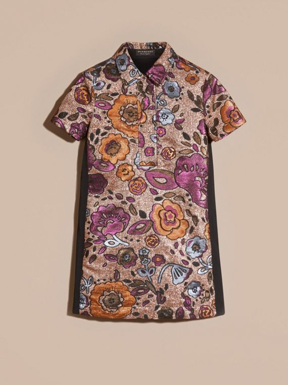 Copper rose Lamé and Floral Jacquard Shirt Dress - cell image 3