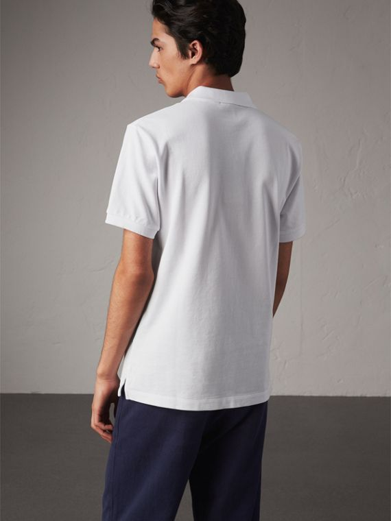 Check Placket Cotton Piqué Polo Shirt in White - Men | Burberry - cell image 2