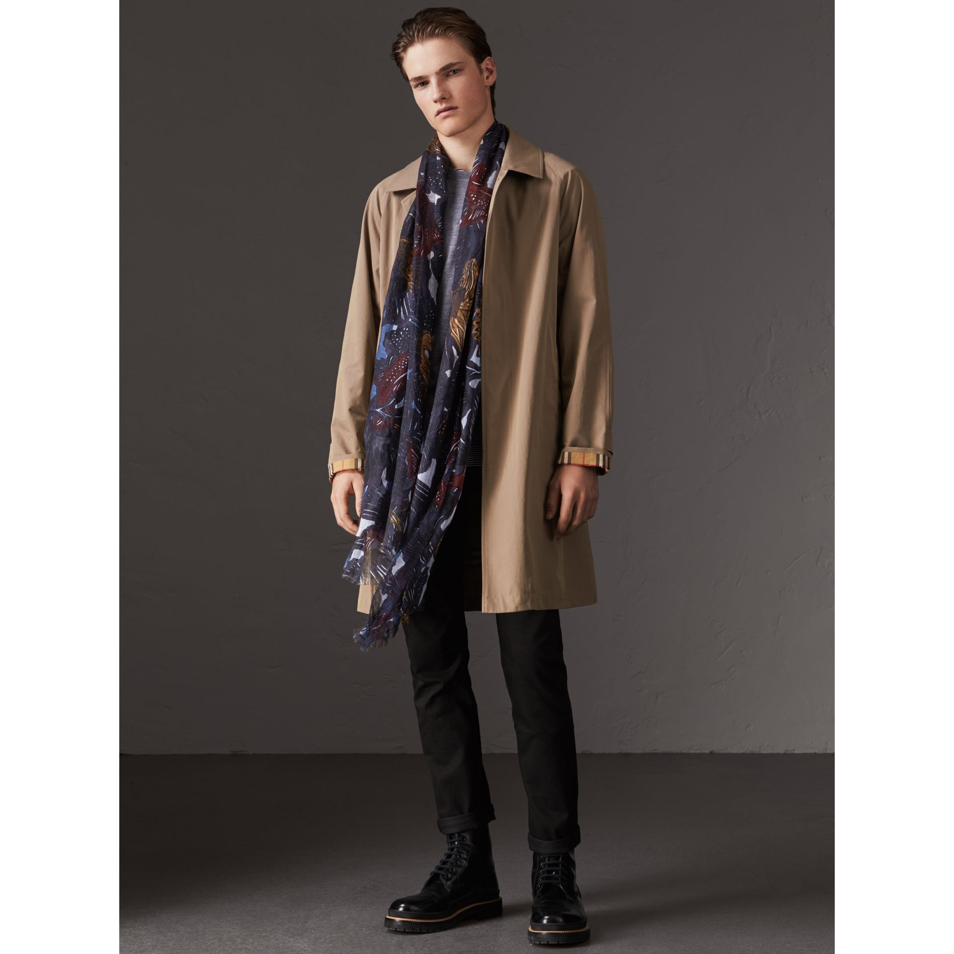 Beasts Print and Check Linen Scarf in Chalk Blue - Men | Burberry - gallery image 3