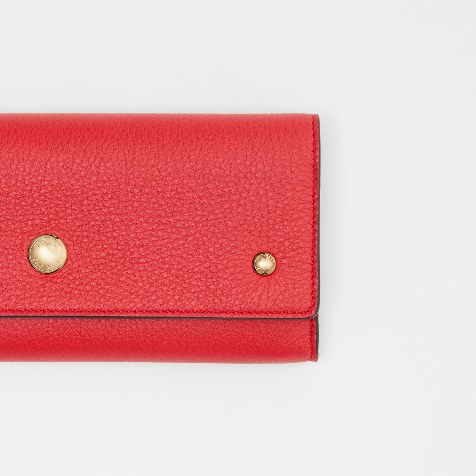 Grainy Leather Continental Wallet in Bright Military Red - Women | Burberry - gallery image 1