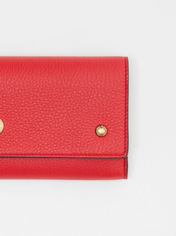 Grainy Leather Continental Wallet in Bright Military Red - Women | Burberry - cell image 1