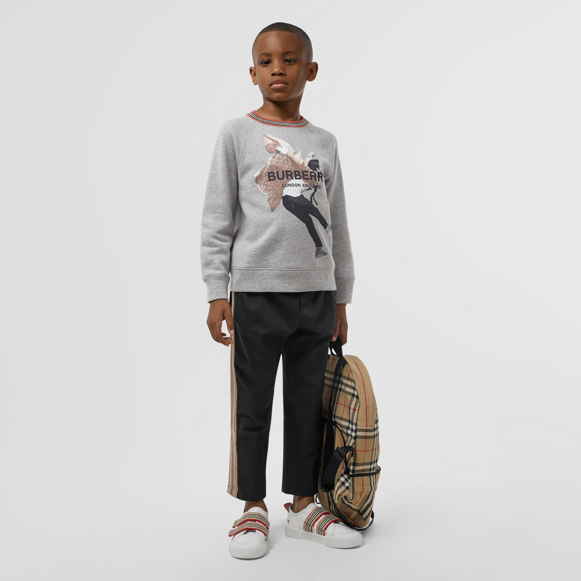 Jump Print Cotton Sweatshirt in Grey Melange | Burberry - gallery image 2