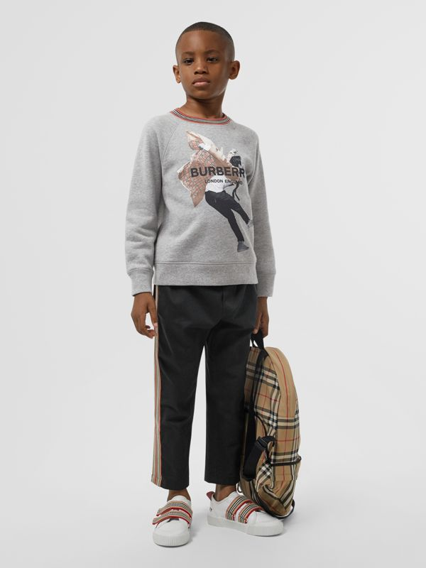 Jump Print Cotton Sweatshirt in Grey Melange | Burberry - cell image 2