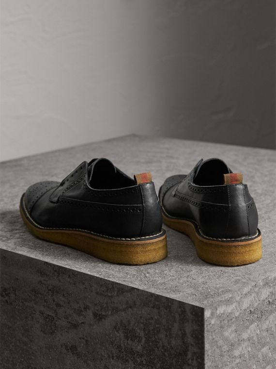 Raised Toe-cap Leather Brogues in Black - Men | Burberry - cell image 2