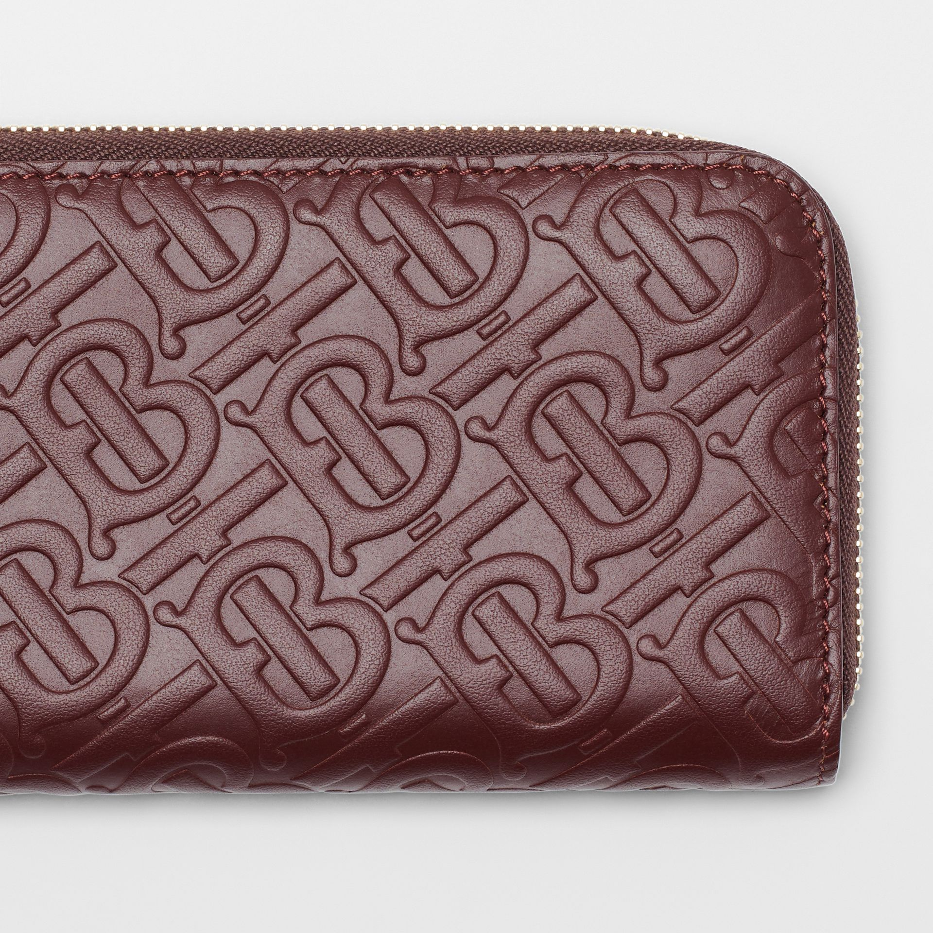 Monogram Leather Ziparound Wallet in Oxblood - Women | Burberry - gallery image 1
