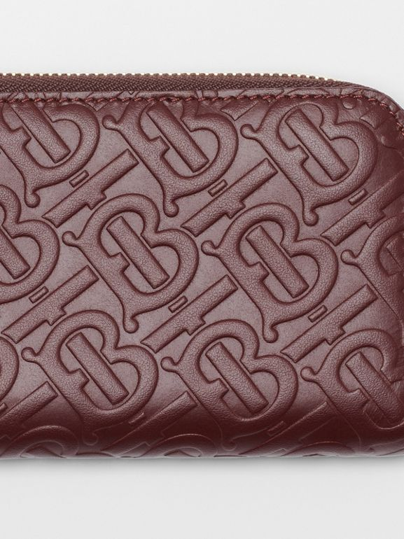 Monogram Leather Ziparound Wallet in Oxblood - Women | Burberry - cell image 1