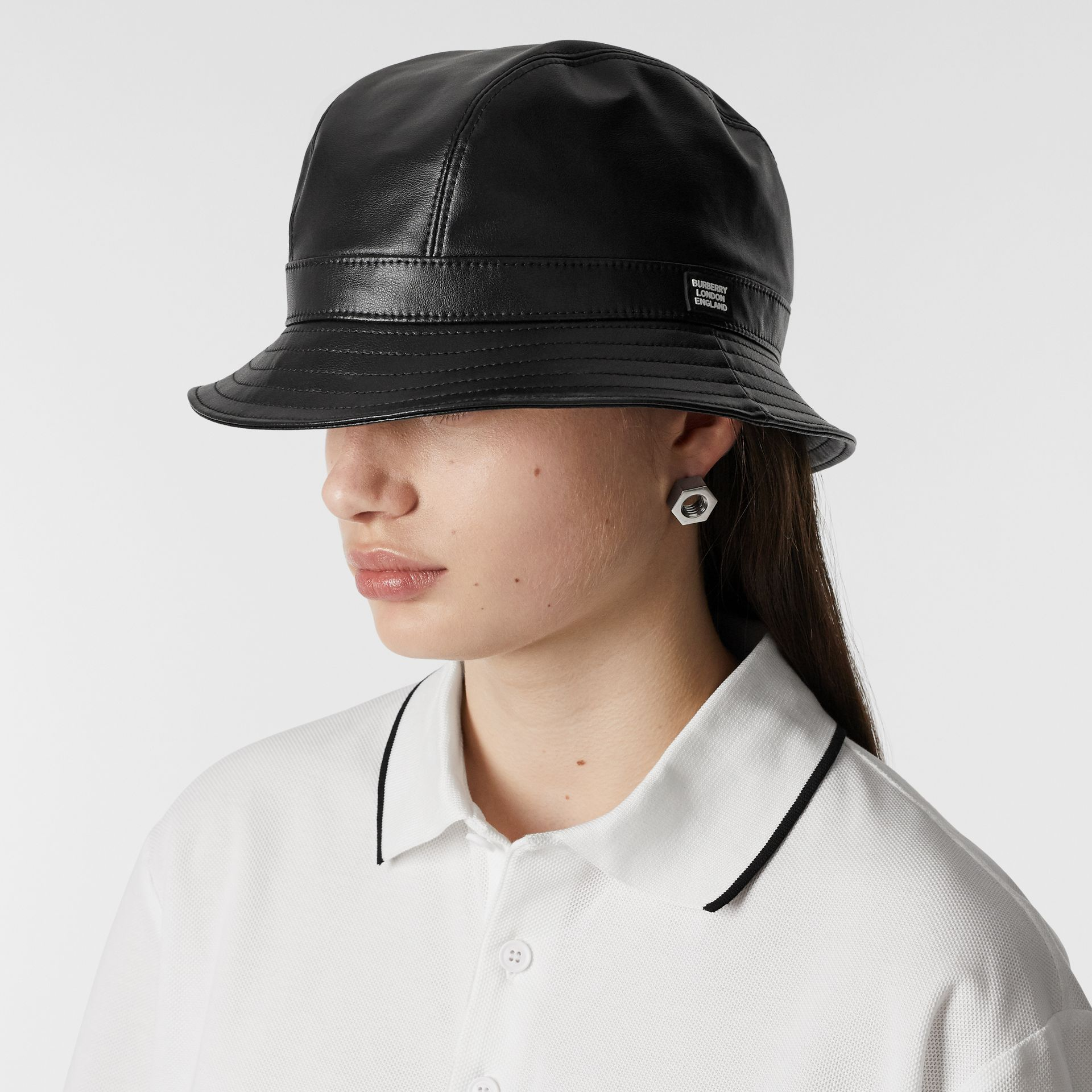 Logo Detail Faux Leather Bucket Hat in Black | Burberry United Kingdom - gallery image 2