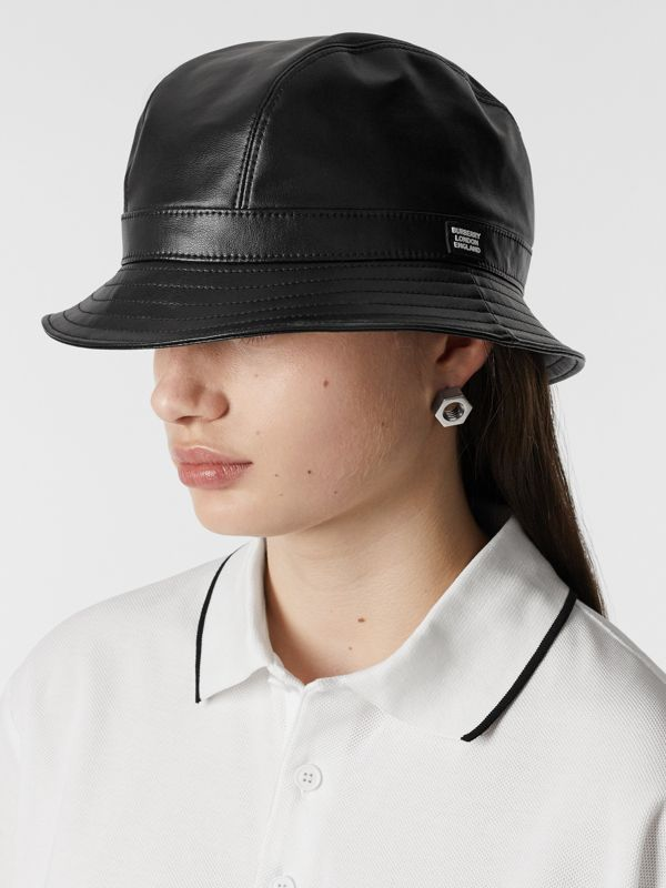 Logo Detail Faux Leather Bucket Hat in Black | Burberry - cell image 2