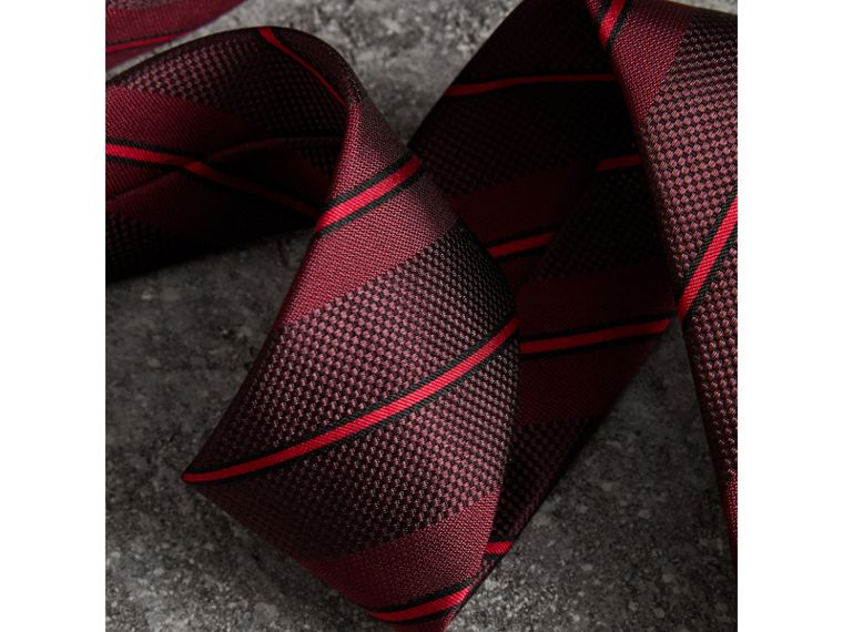 Modern Cut Striped Silk Tie in Deep Claret - Men | Burberry - cell image 1
