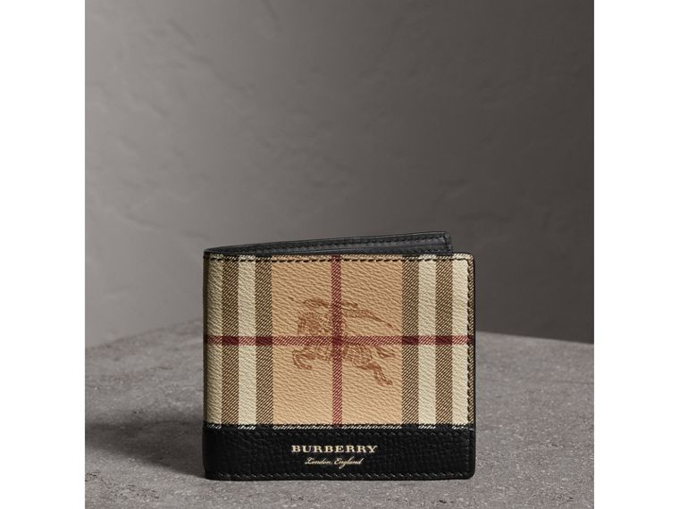Haymarket Check and Leather International Bifold Wallet in Black - Men | Burberry Hong Kong - cell image 4