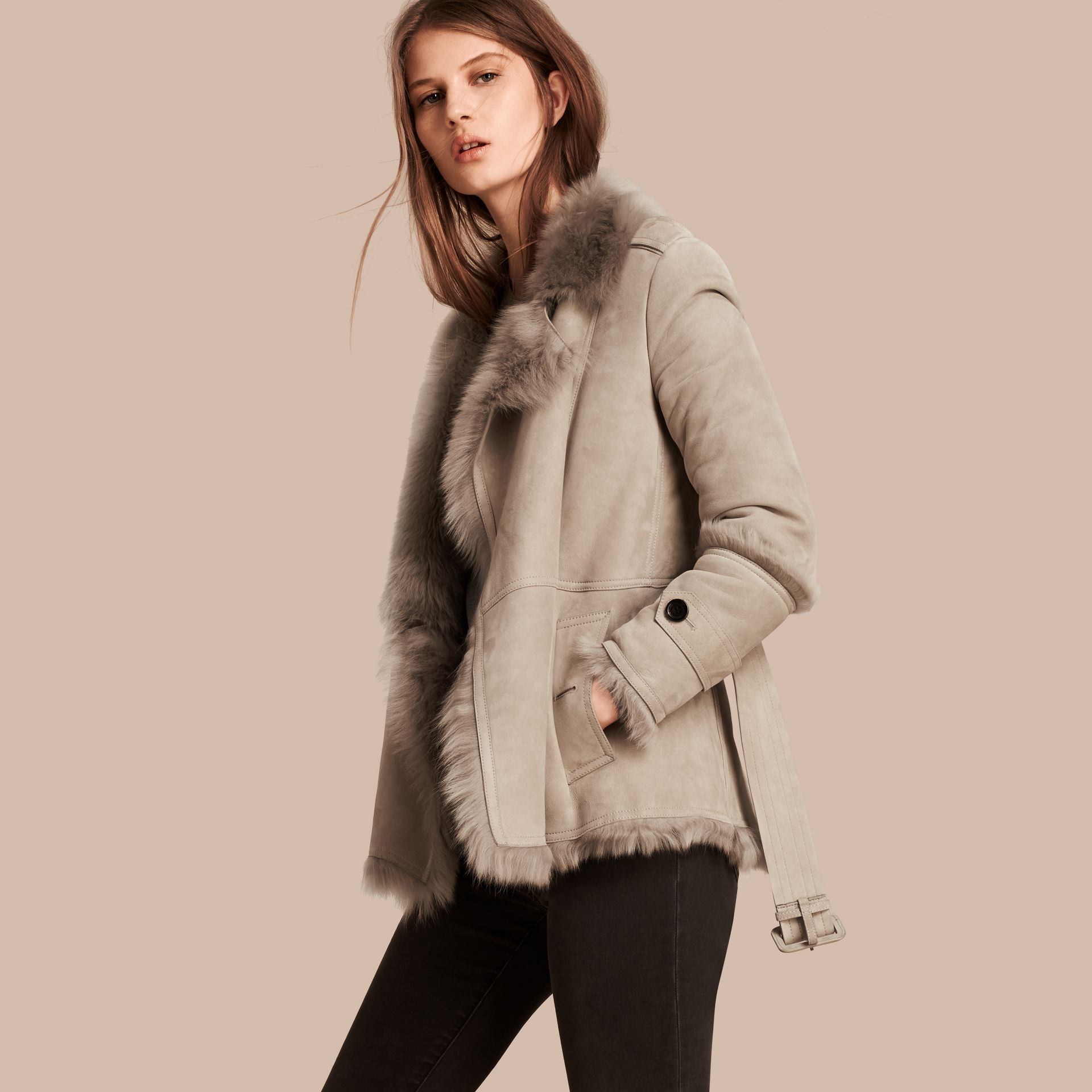 Pale grey Shearling Wrap Jacket - gallery image 1
