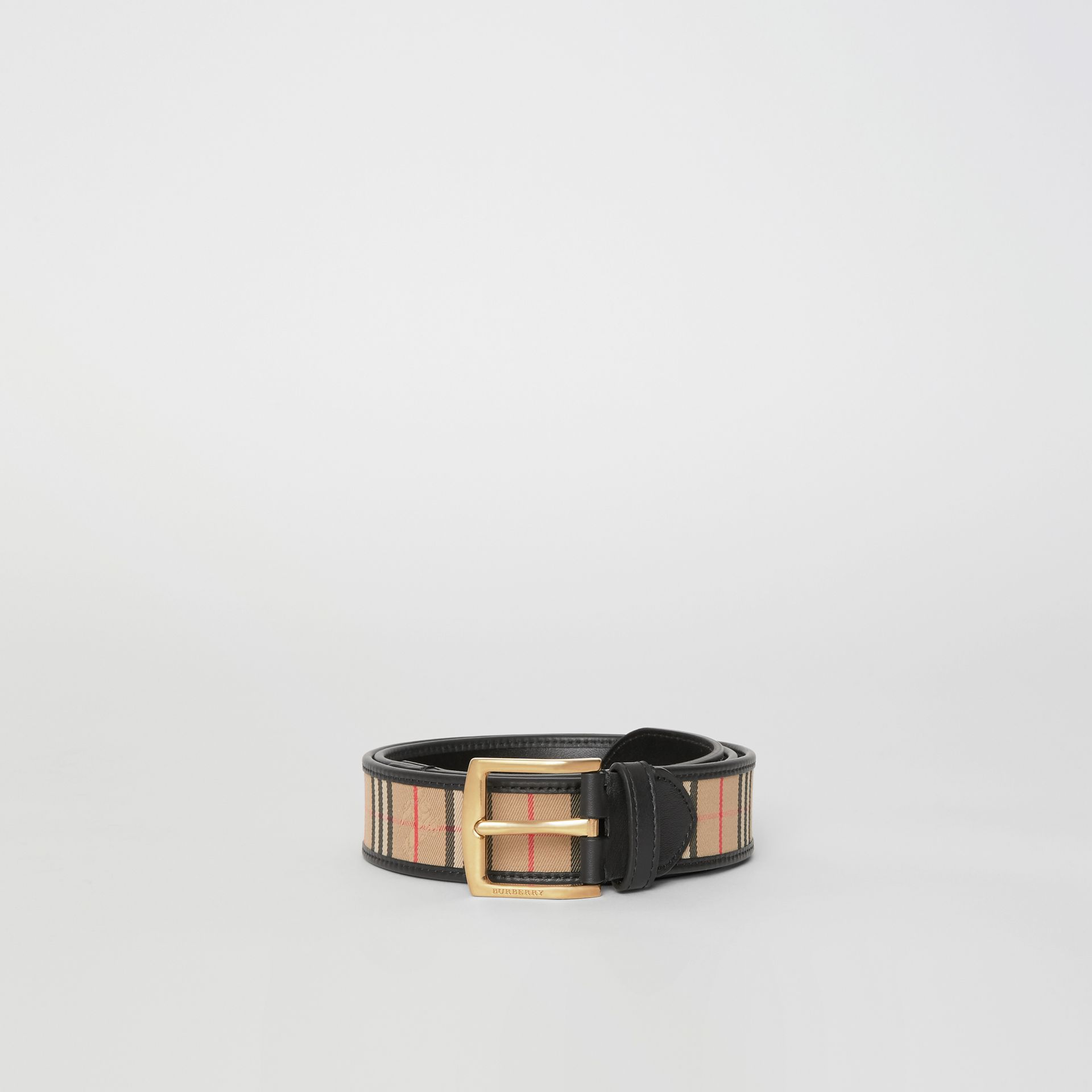 1983 Check and Leather Belt in Black | Burberry Singapore - gallery image 3