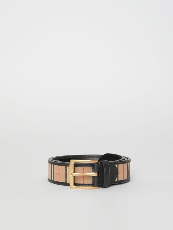 1983 Check and Leather Belt in Black - Men | Burberry Singapore - cell image 3