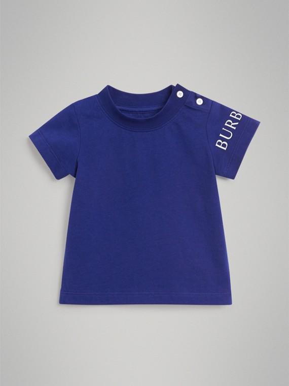 Camiseta en algodón con estampado de logotipo (Azul Cobalto)