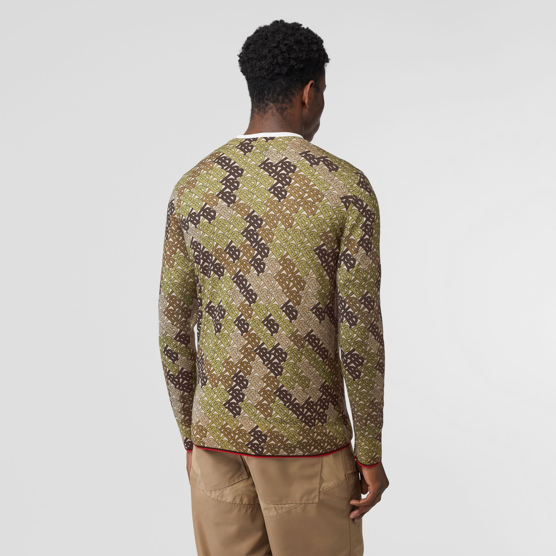 Monogram Print Merino Wool Sweater in Khaki - Men | Burberry United Kingdom - gallery image 2