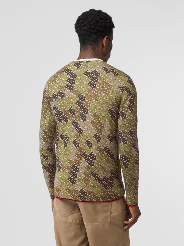 Monogram Print Merino Wool Sweater in Khaki - Men | Burberry - cell image 2