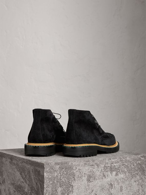 Woven-toe Suede Ankle Boots in Black - Men | Burberry Singapore - cell image 3