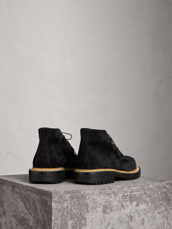 Woven-toe Suede Ankle Boots in Black - Men | Burberry - cell image 3