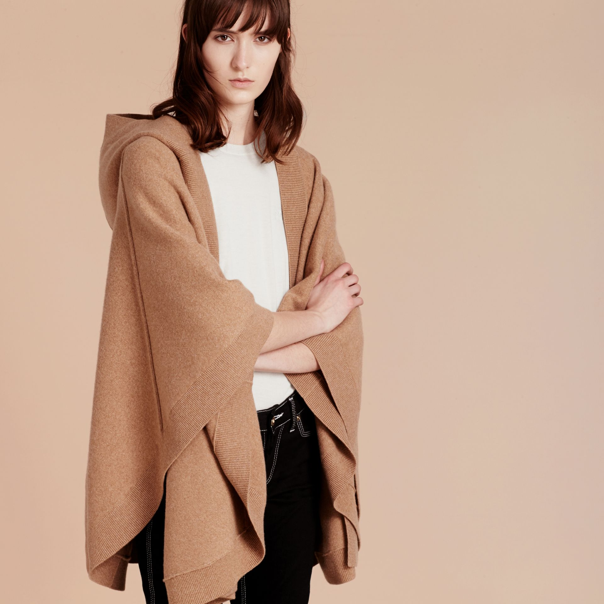 Camel Wool Cashmere Blend Hooded Poncho Camel - gallery image 5
