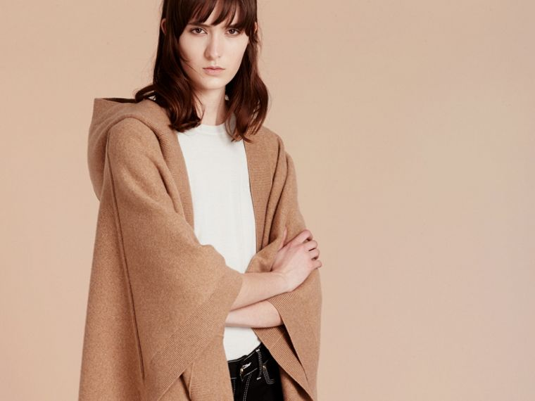 Camel Wool Cashmere Blend Hooded Poncho Camel - cell image 4
