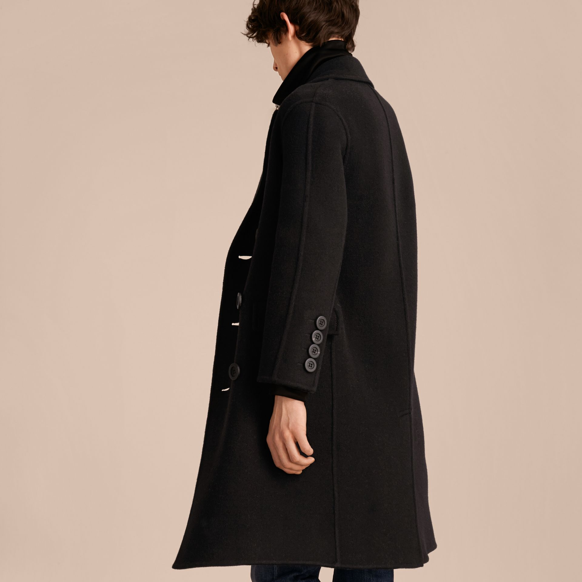 Black Double-breasted Check-lined Wool Cashmere Coat - gallery image 3