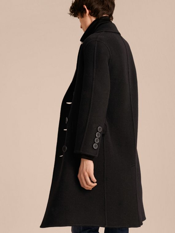 Black Double-breasted Check-lined Wool Cashmere Coat - cell image 2