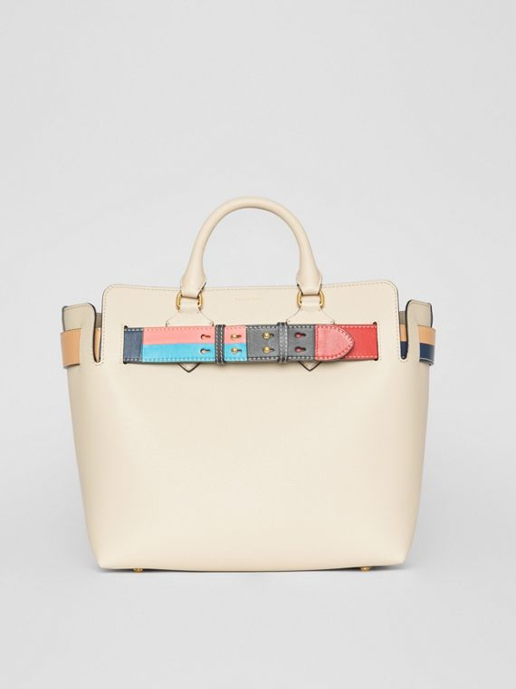 The Medium Leather Colour Block Detail Belt Bag in Limestone