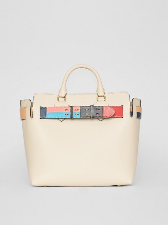 Bolsa Belt de couro com detalhe em colour block - Média (Calcário)