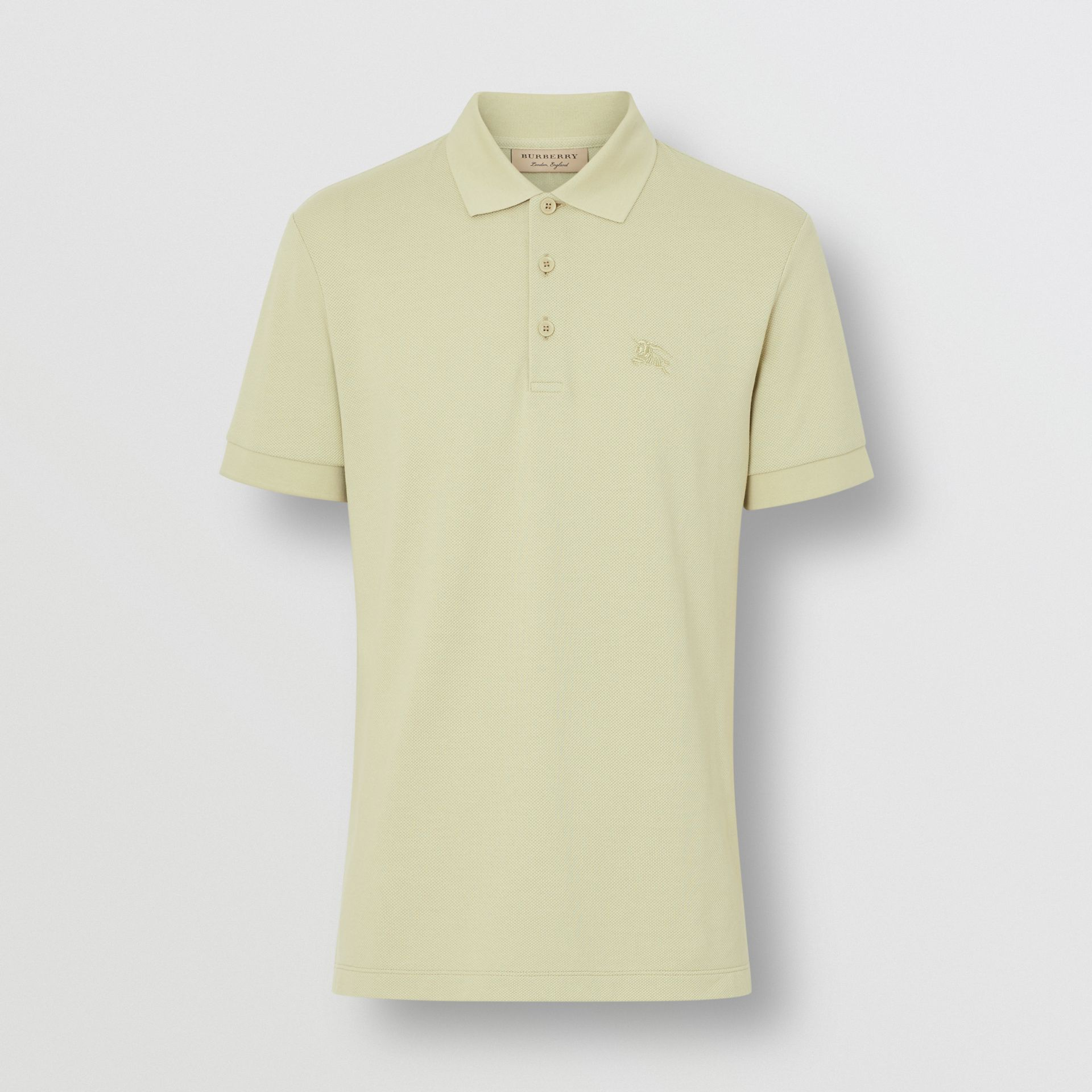 Check Placket Cotton Polo Shirt in Pale Apple Green - Men | Burberry Australia - gallery image 3
