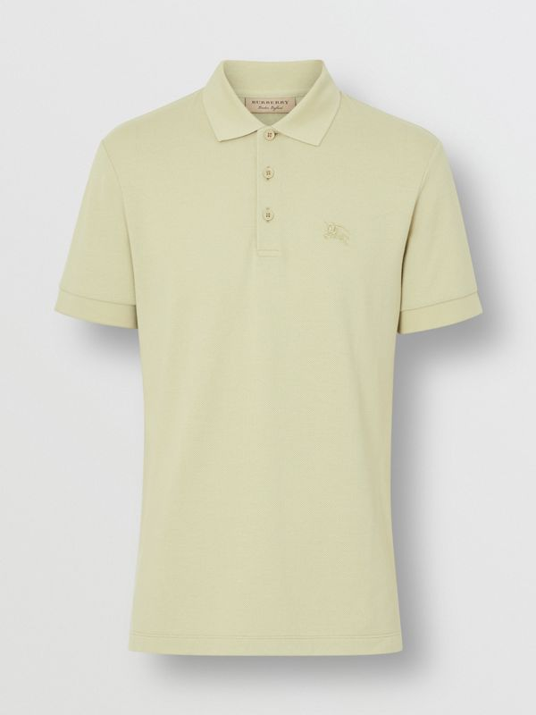 Check Placket Cotton Polo Shirt in Pale Apple Green - Men | Burberry Australia - cell image 3