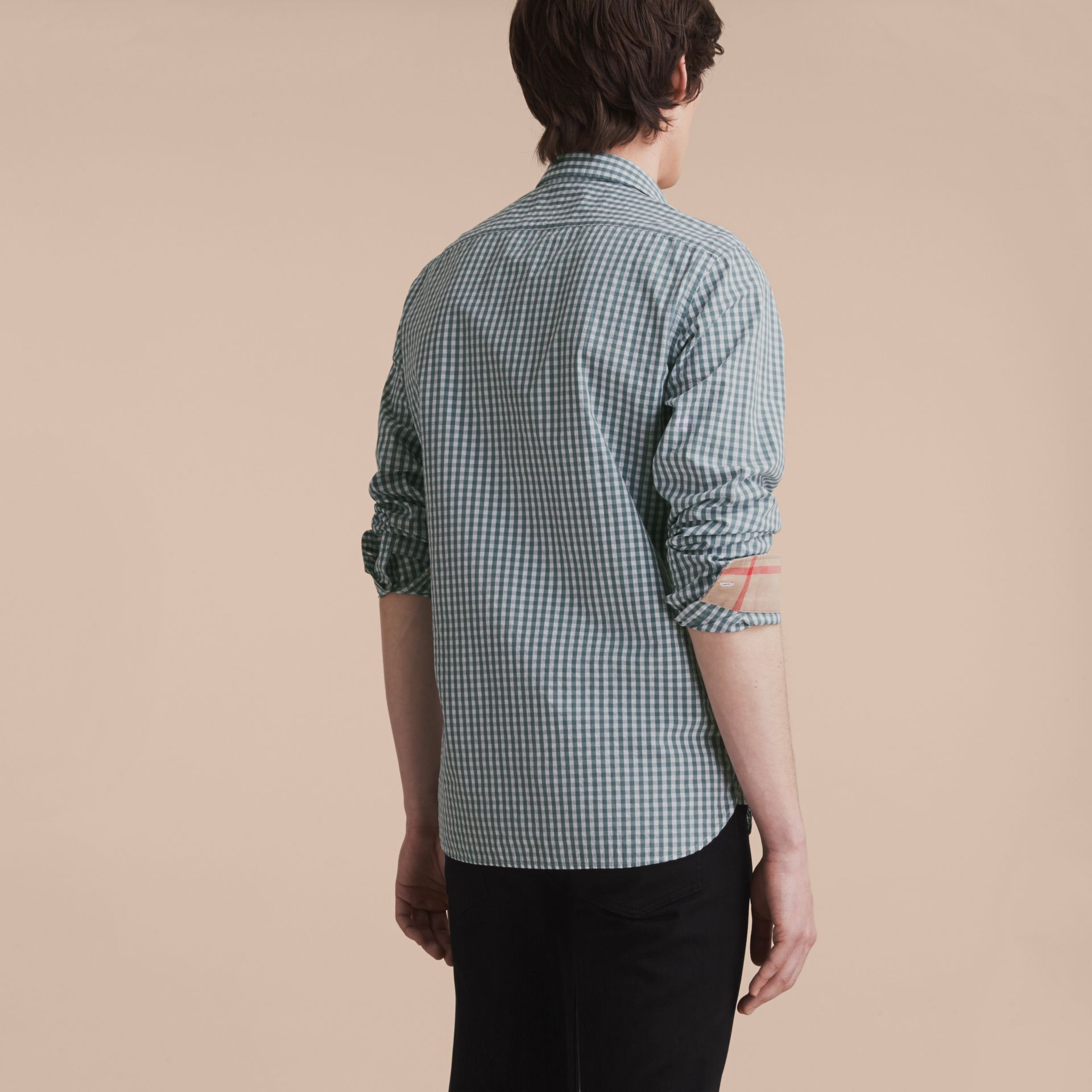 Gingham Cotton Poplin Shirt with Check Detail in Dusty Teal Blue - Men | Burberry - gallery image 3