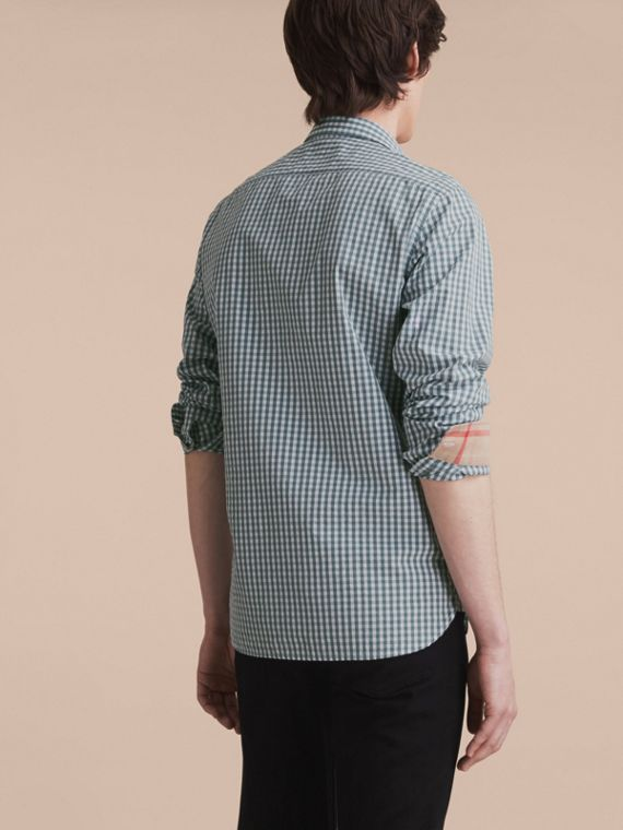Gingham Cotton Poplin Shirt with Check Detail in Dusty Teal Blue - Men | Burberry - cell image 2
