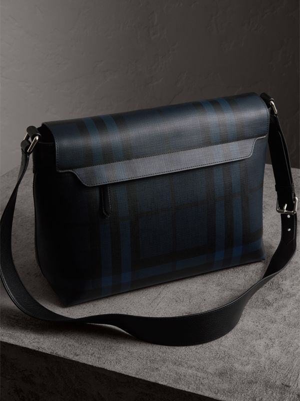 Large London Check Messenger Bag in Navy/black | Burberry United States - cell image 3