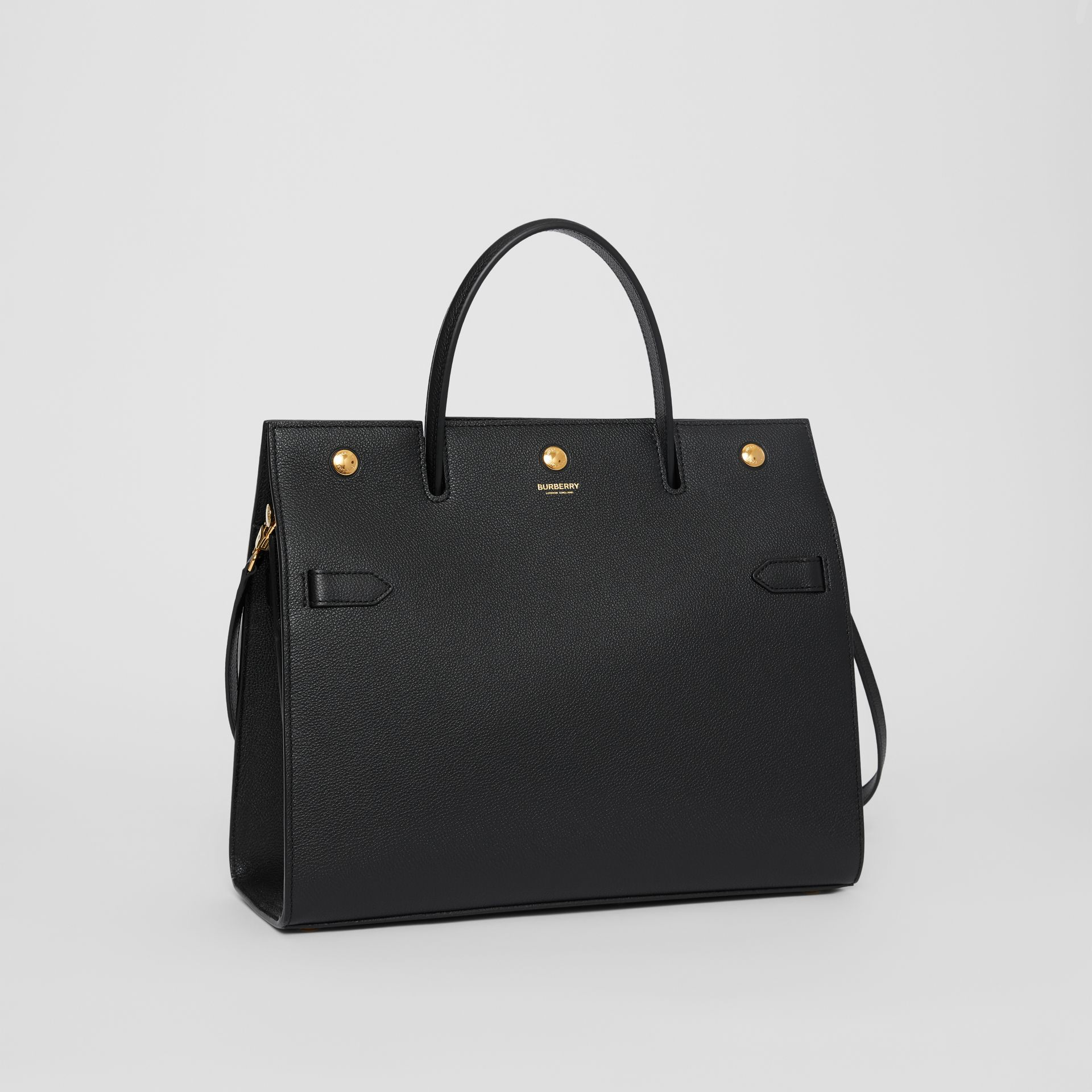 Medium Leather Title Bag in Black - Women | Burberry - gallery image 4