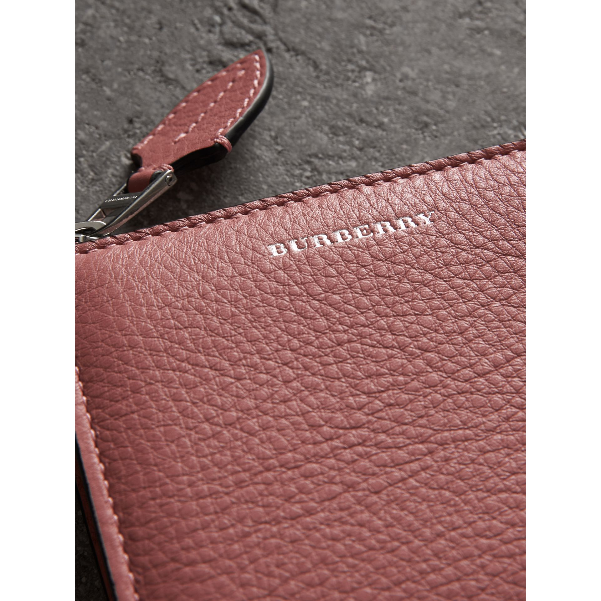Grainy Leather Square Ziparound Wallet in Dusty Rose - Women | Burberry Singapore - gallery image 1