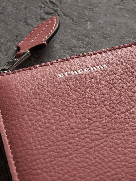 Grainy Leather Square Ziparound Wallet in Dusty Rose - Women | Burberry - cell image 1