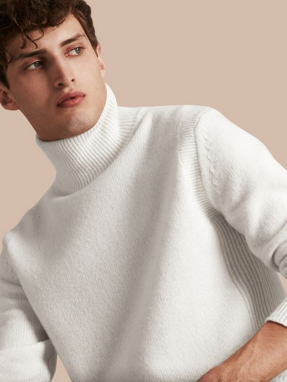 Funnel Neck Wool Sweater Natural White
