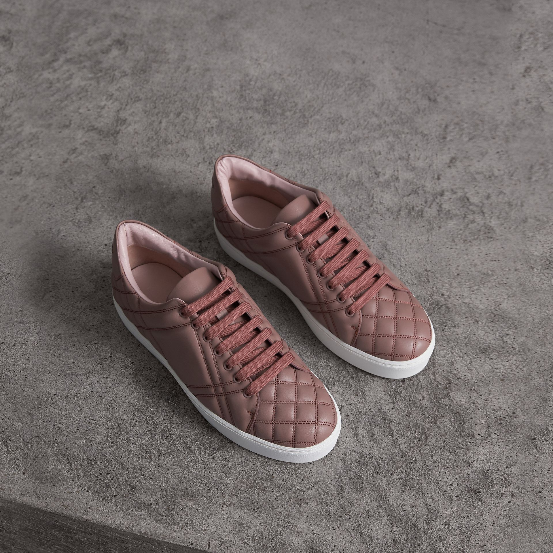 Check-quilted Leather Sneakers in Ivory Pink - Women | Burberry Canada - gallery image 0