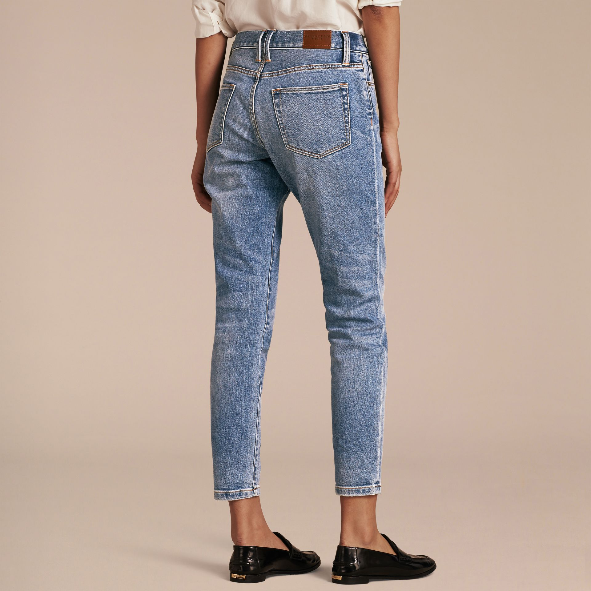 Pale blue Relaxed Fit Stretch Indigo Jeans - gallery image 3