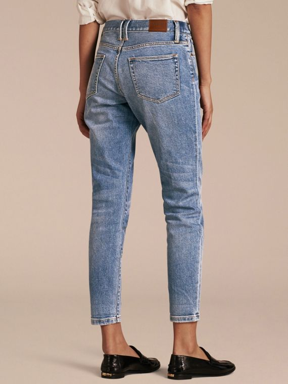 Pale blue Relaxed Fit Stretch Indigo Jeans - cell image 2