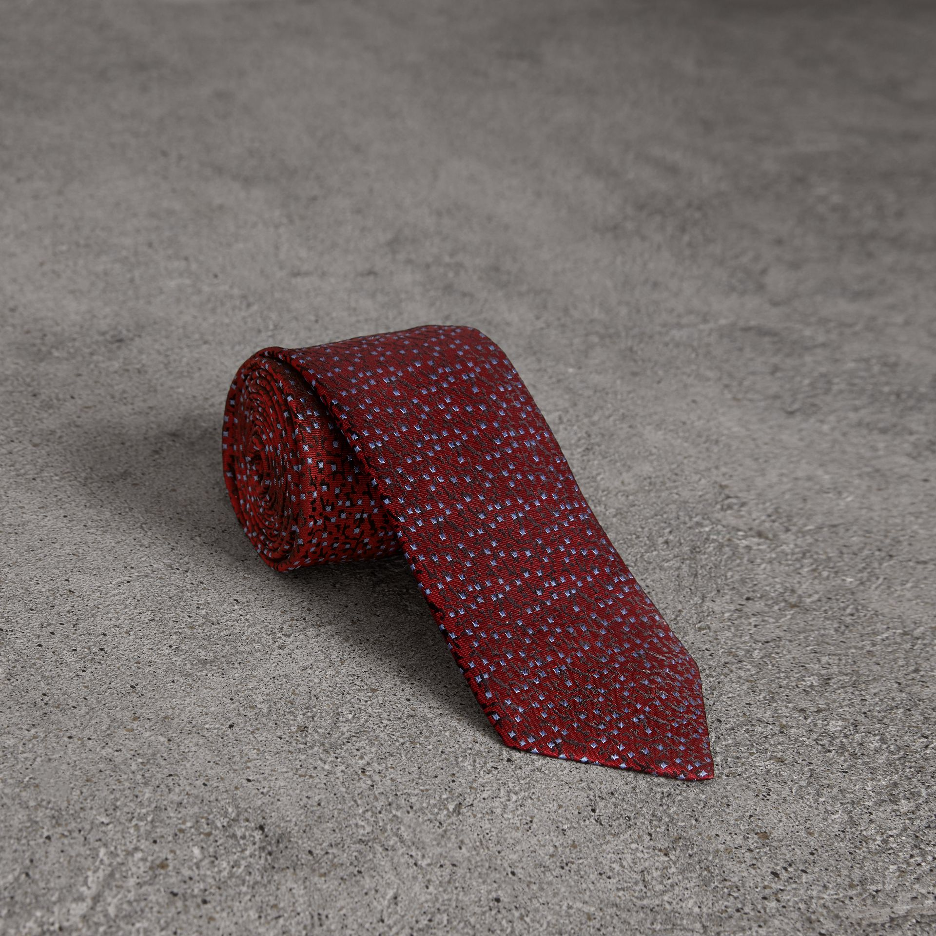 Modern Cut Floral Spot Silk Tie in Burgundy - Men | Burberry Australia - gallery image 0