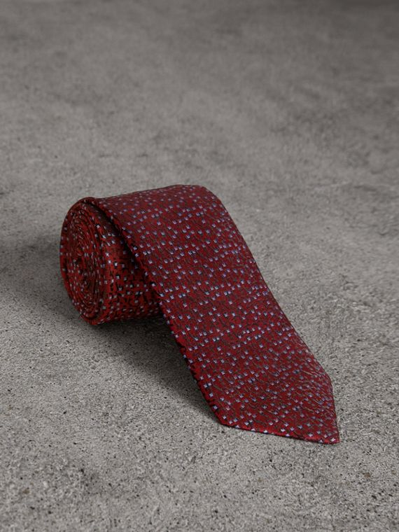 Modern Cut Floral Spot Silk Tie in Burgundy