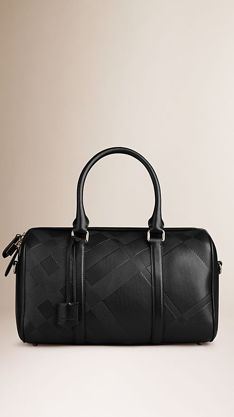 Black The Medium Alchester in Embossed Check Leather - Image 1